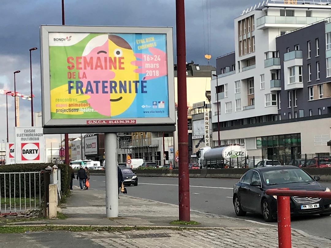 Photo de l'affiche grand format de la semaine de la fraternité 2018 de la Ville de Bondy