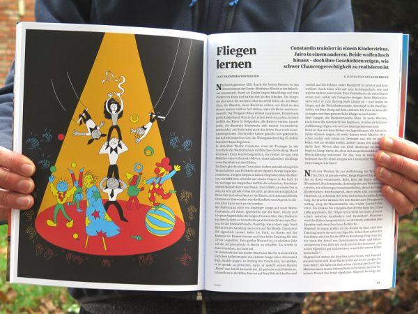 Double page avec Illustration d'article sur le cirque pour enfants