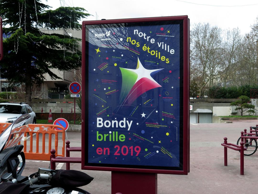 Affiche 120x176 des vœux en 2019 - Notre ville, nos étoiles