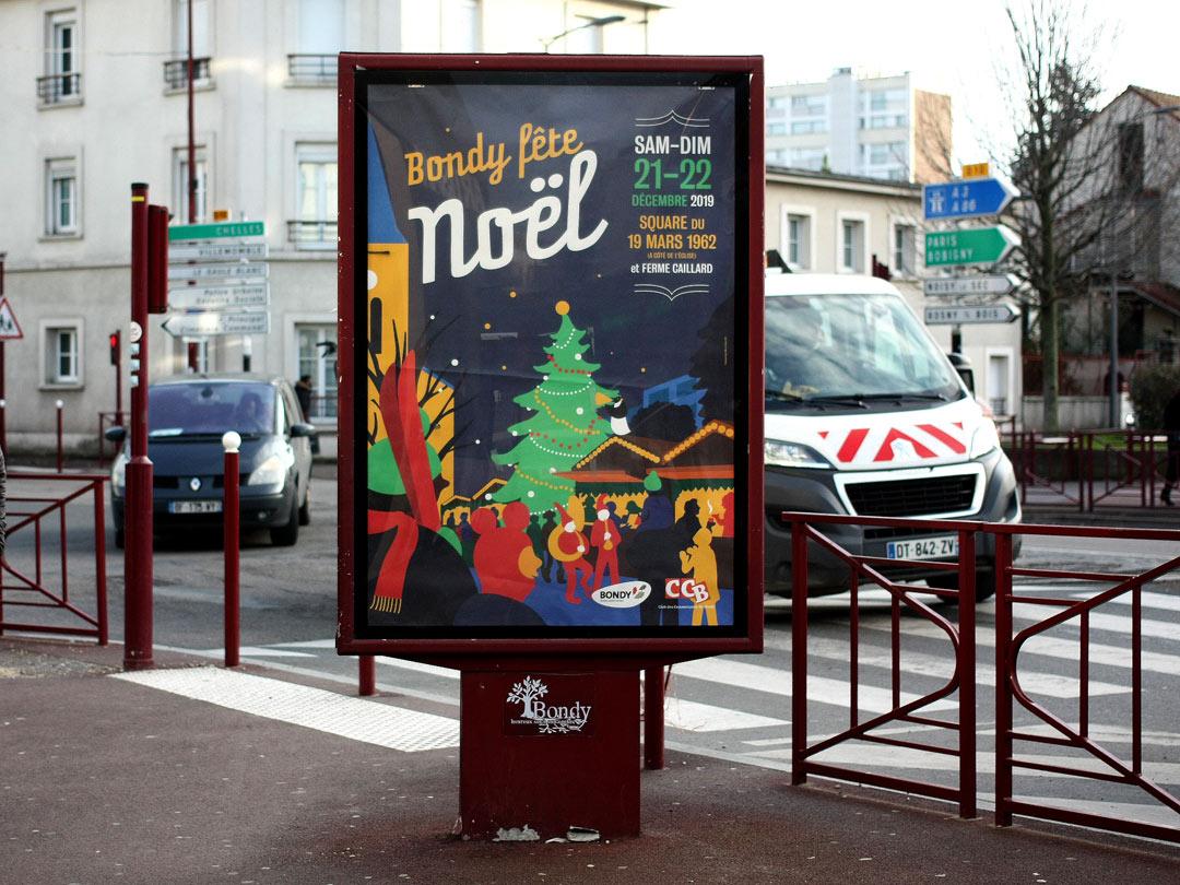 Affiche pour les animations de Noël 2019 de la Ville de Bondy