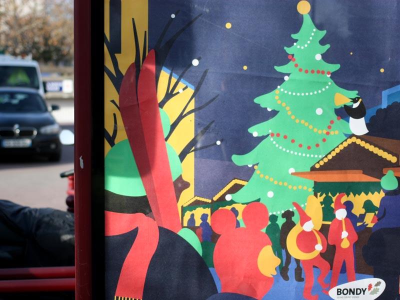 Photo insitu de l'affiche pour les animations de Noël 2019 de la Ville de Bondy