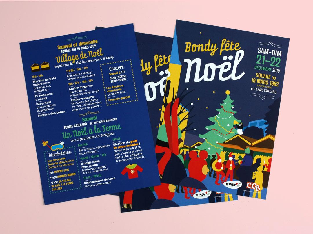 Flyer pour les animations de Noël 2019 de la Ville de Bondy