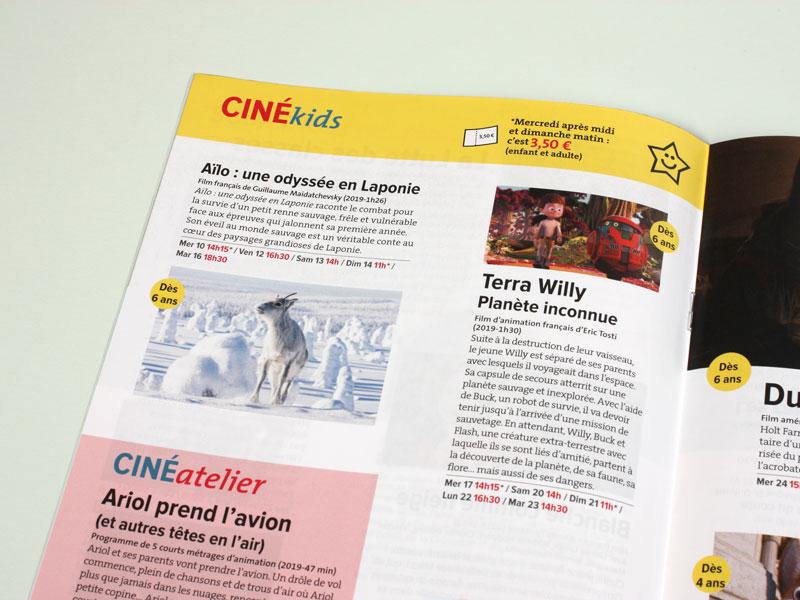 Zoom sur une page Ciné Kids du programme culturel mensuel de la Ville de Bondy