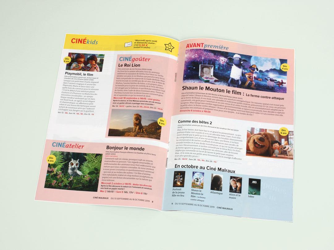 Page Ciné Kids du programme culturel mensuel de la Ville de Bondy