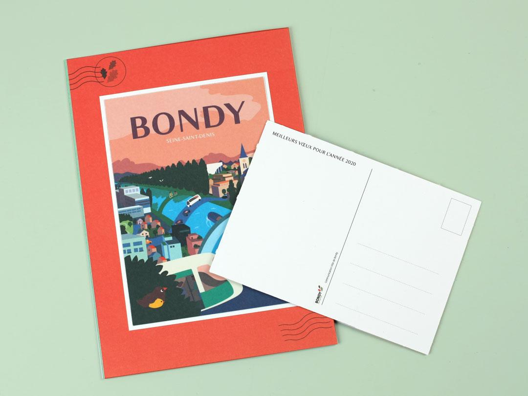 Dos de la carte de voeux 2020 de la Ville de Bondy