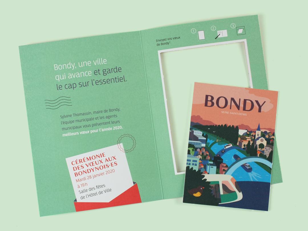 Interieur de la carte de voeux 2020 de la Ville de Bondy