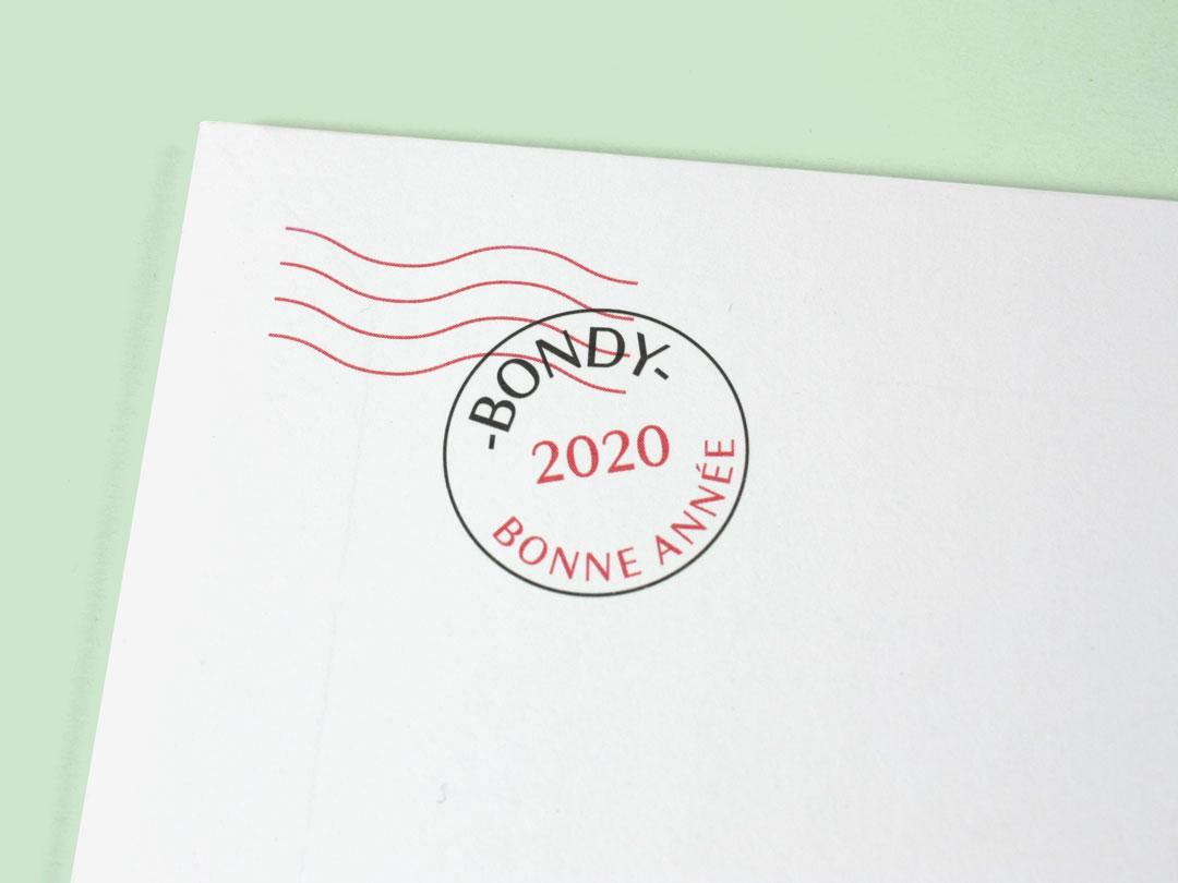 Tampon sur l'enveloppe des voeux 2020 de la Ville de Bondy