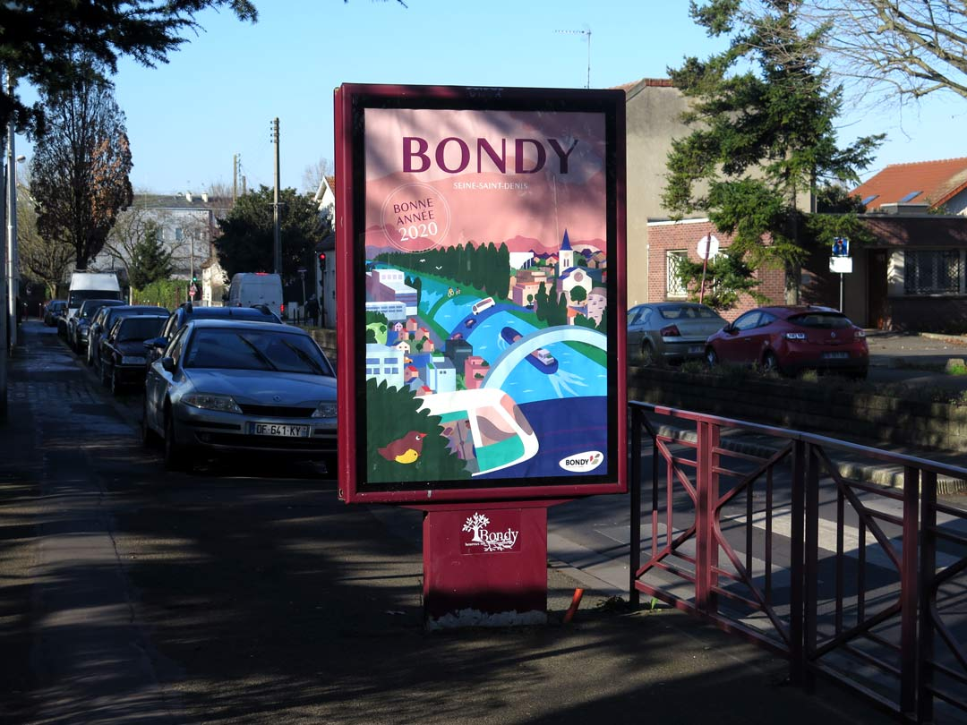 Affiche des voeux 2020 de la Ville de Bondy photographiée sur un panneau d'affichage