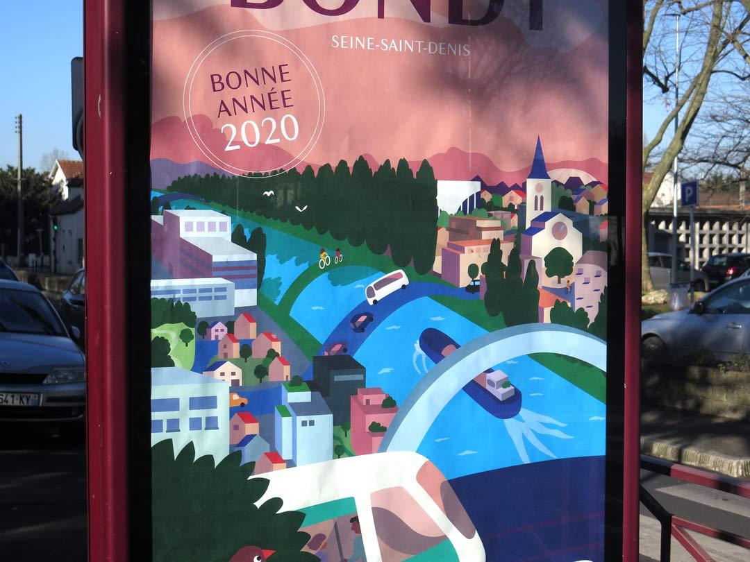Zoom sur l'affiche des voeux 2020 de la Ville de Bondy photographiée sur un panneau d'affichage